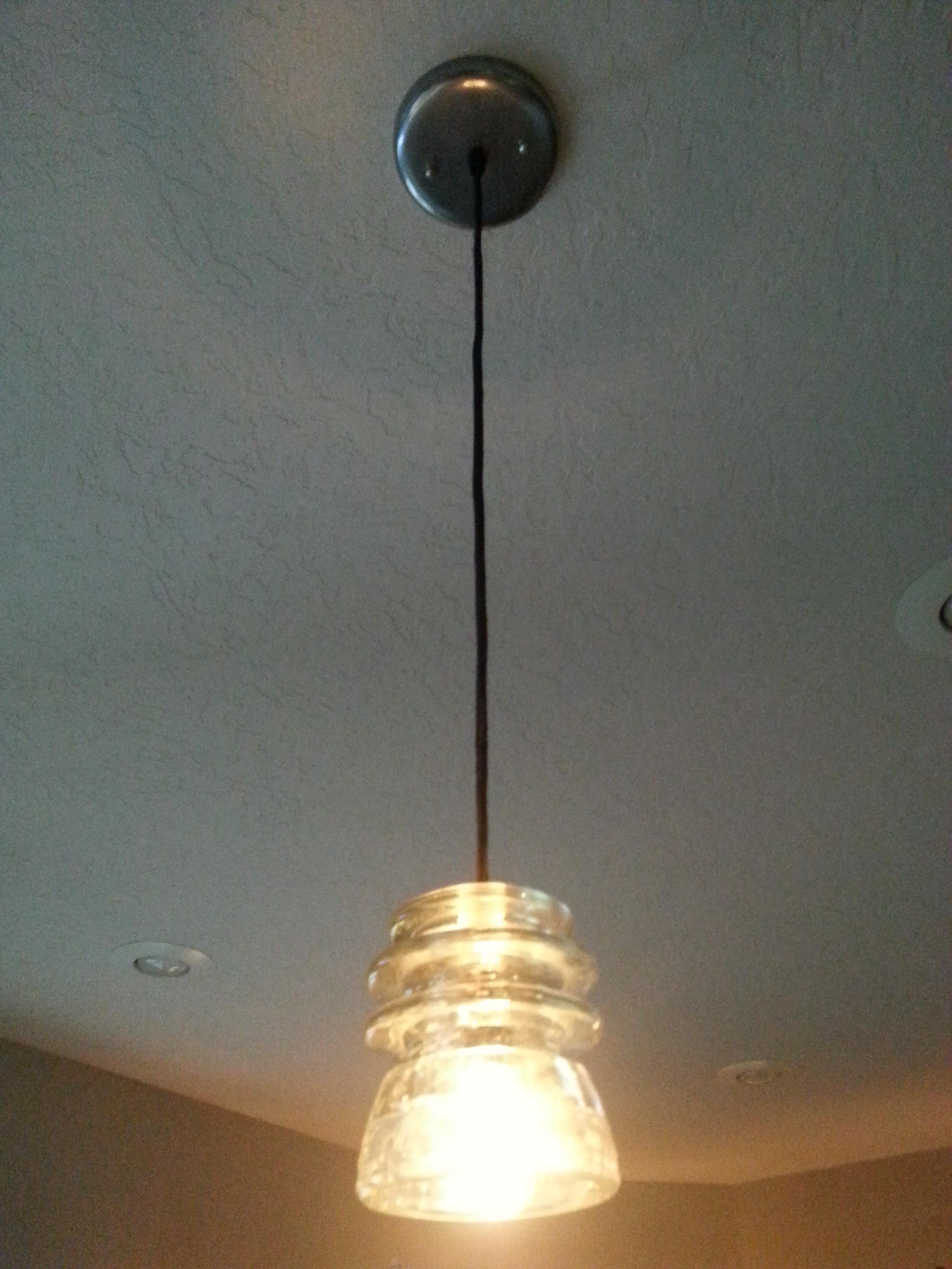 Vintage insulator pendant light recreated lighting for Antique insulator pendant lights